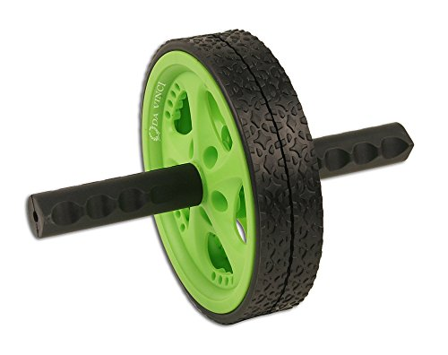 UPC 853237004941, Da Vinci Dual Wheel Ab Roller, Green - Best Abdominal Rollout Exercise Equipment with Anti Slip Foam Grips & Double Wheels