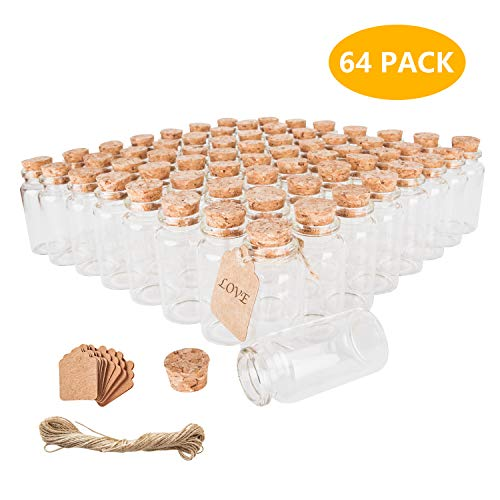 Brajttt 30ml Glass Vials Bottles with Cork Lids, Small Jars with Personalized Label Tags and String, Mini Bottles of Candy, Wedding Favors for Guests, Set of 64