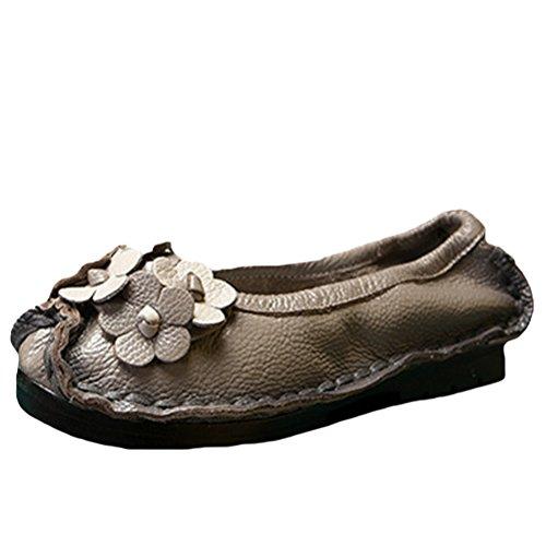Mordenmiss Womens Automne Nouvelle Fleur Plate Modèle Chaussures Style 3-gris