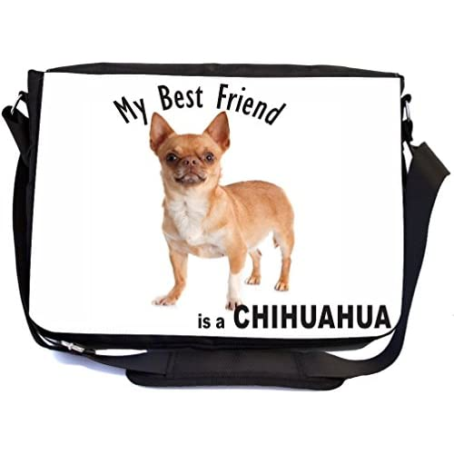 Rikki Knight My Best Friend is a Brown Chihuahua Dog Design Multifunctional Messenger Bag - School Bag - Laptop Bag - with padded insert for School or Work - Includes Matching Compact Mirror