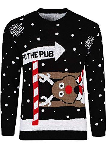 Hommes Christmas Pull No Unisexe Adultes GirlzWalk Over Femmes l The 'to pour Pub' de Noir O05wavx