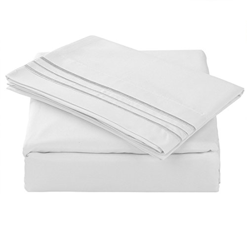 TASTELIFE 105 GSM Deep Pocket Bed Sheet Set Brushed Hypoallergenic Microfiber 1800 Bedding Sheets Wrinkle, Fade, Stain Resistant - 4 Piece(White,Queen) (Microfiber 90 Is Gsm What)