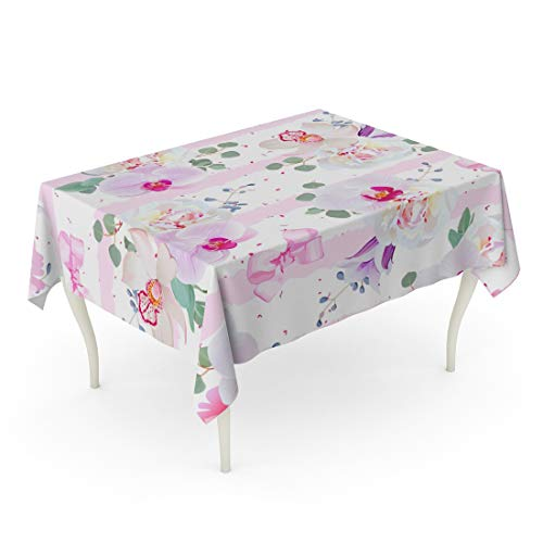(Tarolo Rectangle Tablecloth 60 x 84 Inch Colorful Nature Delicate Pattern in Purple Pink and White Tones Peony Violet Campanula Orchid Eucalyptus Geometric Princess Table Cloth)