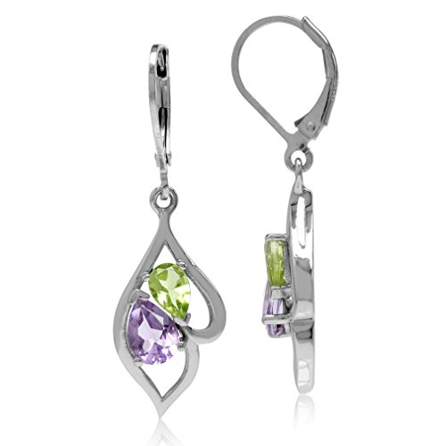 t & Peridot White Gold Plated 925 Sterling Silver Leverback Dangle Earrings ()