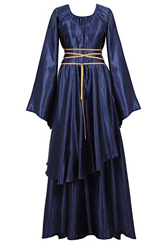 Famajia Womens Halloween Role Cosplay Dress Deluxe Medieval Renaissance Irish Over Victorian Retro Gown Costumes Navy Small