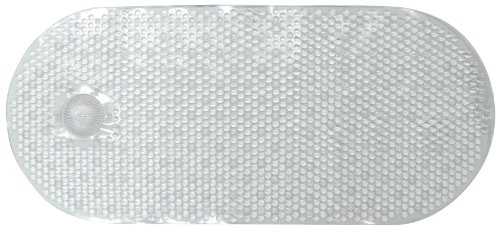 Ginsey Home Solutions AquaTouch Vinyl Bath Mat with Hair Catcher, Clear 14' x 34'