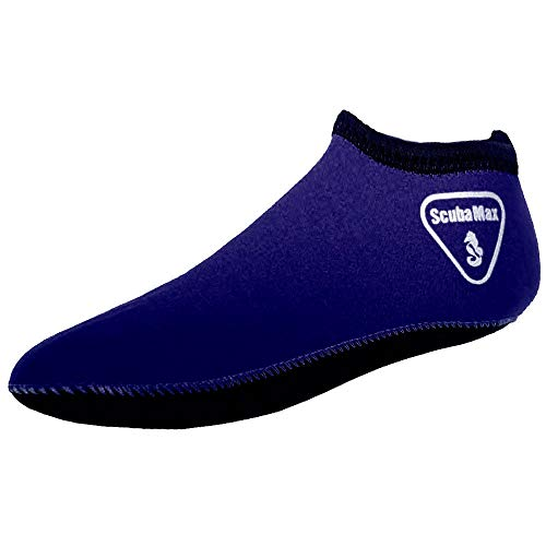 ScubaMax 3mm Snorkeling, Scuba Diving Fin Low Cut Neoprene Sock (Blue, Medium)