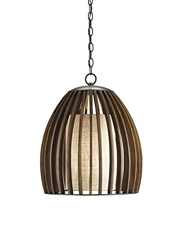 Currey and Company 9099 Carling - One Light Pendant, Old Iron/Polished Fruitwood Finish with Putty Burlap Shade