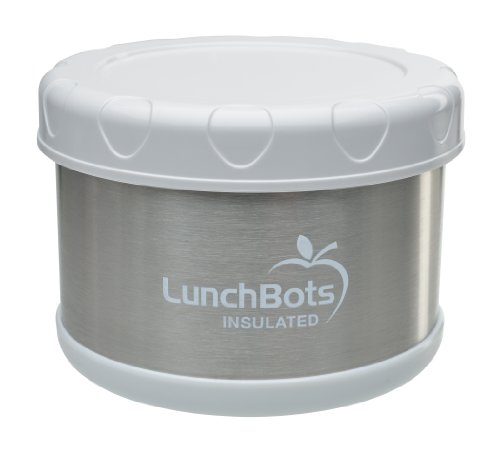 LunchBots Thermal 16-ounce Stainless Steel Insulated Food Container, White