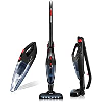 Vacuum Cleaner, Deik 2 in 1 Cordless Vacuum Cleaner, Stick Vacuum with High Power & Long Lasting 22.2V Li-ion Battery, Rechargeable Bagless Stick and Handheld Vacuum with Upright Charging Base, Black