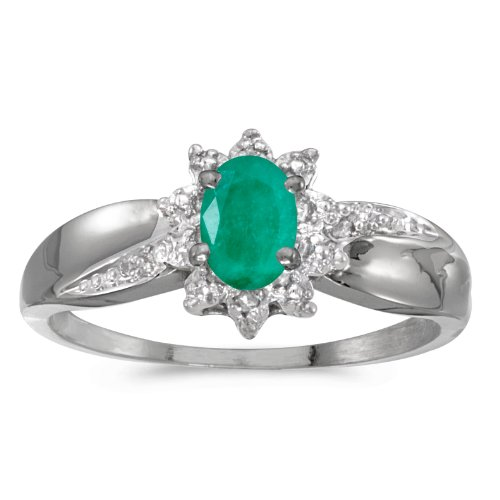 10k White Gold Oval Emerald And Diamond Ring (Size 6) ()