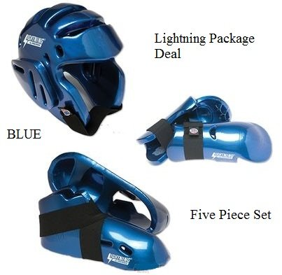 Lightning BLUE Karate Sparring Gear Package Deal - Adult Small