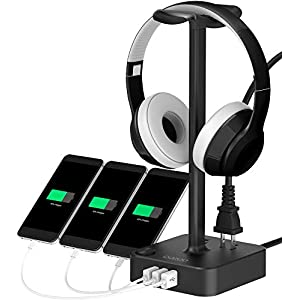 Headphone Stand with USB Charger COZOO Desktop Gaming Headset Holder Hanger with 3 USB Charger and 2 Outlets – Suitable for Gaming, DJ, Wireless Earphone Display (Black)