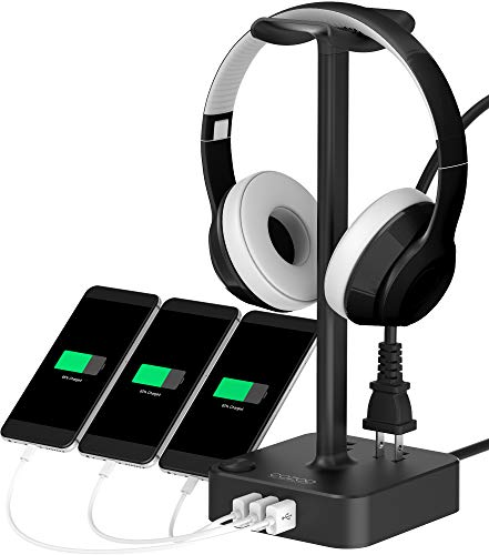 (Headphone Stand with USB Charger COZOO Desktop Gaming Headset Holder Hanger with 3 USB Charger and 2 Outlets - Suitable for Gaming, DJ, Wireless Earphone Display (Black))