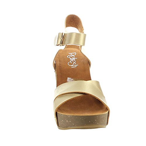 05 Comfort Mara Ankle Womens Champagne Strap Cross Criss Sandals Refresh Wedge Platform 5Xdq5