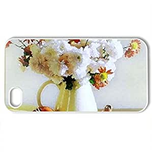 apples and flowers - Case Cover for iPhone 4 and 4s (Flowers Series, Watercolor style, White)