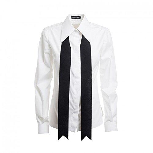 - Dolce & Gabbana White Black Tie Shirt Size 42