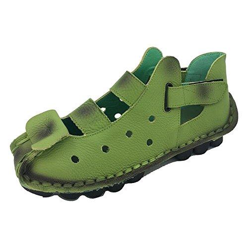 DULEE - Sandalias deportivas de Piel para mujer Verde