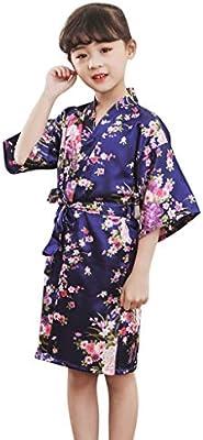 Baby Girls Kid Silk Satin Kimono Robes Sleepwear Wedding Flower Bathrobe