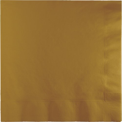 Creative Converting 593276B 250 Count Case Touch of Color 3-Ply Paper Dinner Napkins, Glittering Gold ()