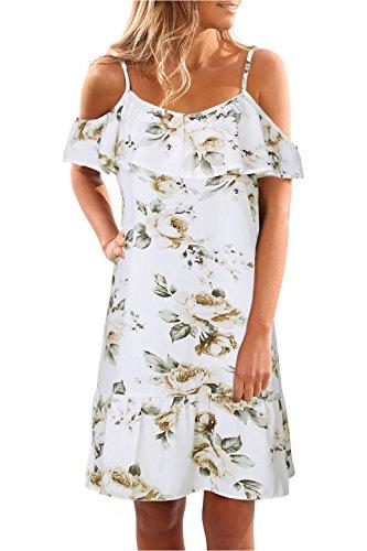 Mujeres Floral Hombro Frio T - Shirt Una Linea Mini Vestido De Playa White