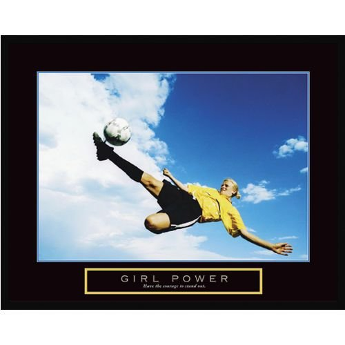 wallsthatspeak Girl Power Soccer Framed Motivational Poster