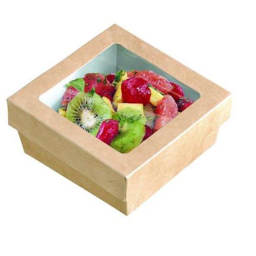 PackNWood 210KRAYB115 Small Kray Box with Window Lid - 12 oz - 3.9 x 3.9 x 1.6'' - 250 per case by PacknWood (Image #1)