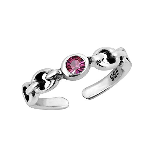 (AeraVida Charm Pink Cubic Zirconia Chain Link .925 Sterling Silver Toe Ring or Pinky Ring)