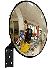 """Traffic Curved Convex Wide Angle Mirror, 30 cm / 12"""", Unbreakable for Road Safety Shop Security with Adjustable Wall Fixing Bracket"""
