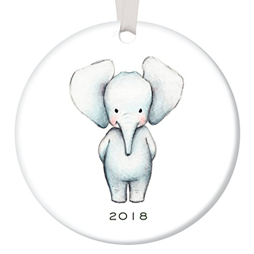 """Baby Ornament 2018, Baby Elephant Porcelain Ceramic Ornament, 3"""" Flat Circle Christmas Ornament with Glossy Glaze, White Ribbon & Free Gift Box   OR00076 Aiden"""