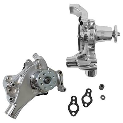 Long Water Pump - Tuff Stuff 1449NB Chrome Long Super Cool Water Pump for Small Block Chevy