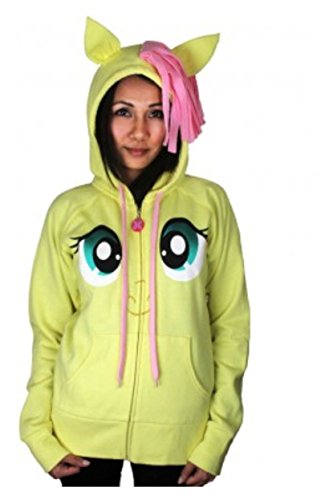 My Little Pony Fluttershy Pegasus Face Juniors Butter Yellow Costume Hoodie with Mane and Wings (Juniors Small)