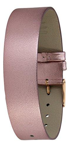 Moog Paris Pink Calf Leather Bracelet for Women, Metallic Pattern, Pin Clasp, 18mm Band - LC-05RG