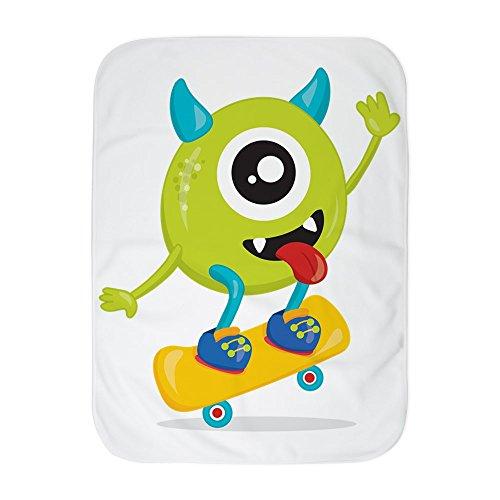 Royal Lion Baby Blanket White One Eyed Monster on Skateboard
