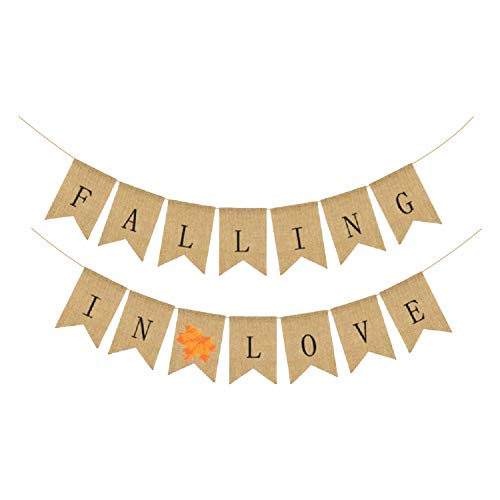 Falling In Love Burlap Banner - No DIY Required | Maple Leaf Vintage Retro Style | Great for Bridal Baby Shower, Thanksgiving Day Decorations, Valentines, Anniversary, Home Office Decor Accessories -