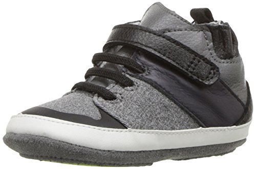 Robeez Boys' High Top Sneaker-Mini Shoez Crib Shoe, Zachary-Black, 6-9 Months M US Toddler