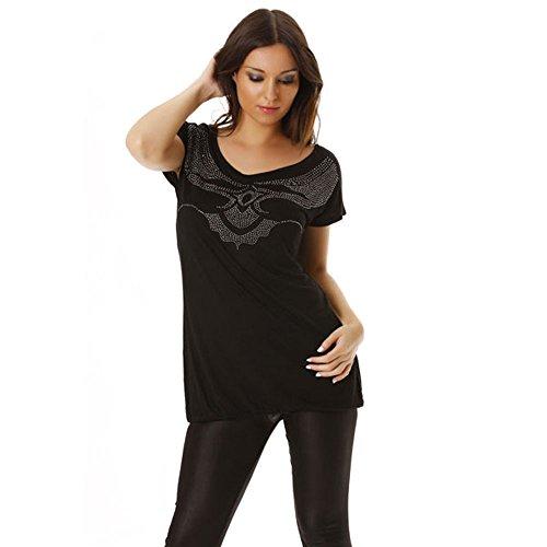 Miss Wear Line - Top noir avec motif en strass et encolure dans le dos