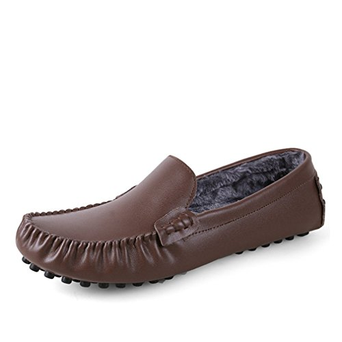 Lumino Drivng Cuir Fur Zapatos Mode Grande Chaussures Brown Occasionnels Hommes Véritable Appartements Mocassins Taille Dark 35~47 rRxrqC