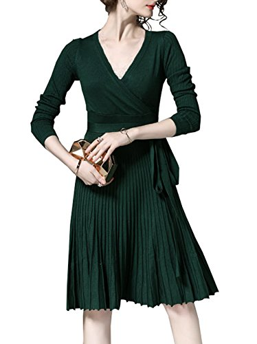 Manches Longues Femmes R.vivimos Mince Longueur Du Genou V-cou Une Ligne De Robe Pull Vert Foncé