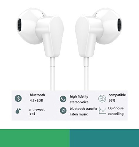 Fourcase F-1418 Earphones Headphones Earbud Bluetooth Wired Headset with Microphone and and Remote Control Stereo Noise Canceling Sweatproof Compatible with IP 7,8, White