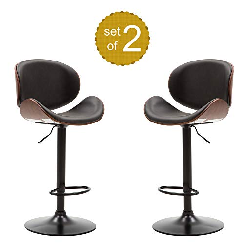 Rhomtree Bar Stool Set of 2 Adjustable Height Swivel Bar Chairs with Curved Black Upholstery PU Leather Seat for Pub Home Kitchen, Walnut