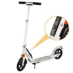 WeSkate Adult Scooter with EASYFOLDING Technology, Dual Suspension Shocks and 2 Big Wheels | City Urban Commuter Kick Scooter with Shoulder Strape for Children 13 Up Years Old, Support 220lb