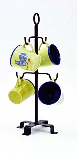 Wrought Iron Mug Tree-17 Inches High. Holds 4 mugs. Handmade