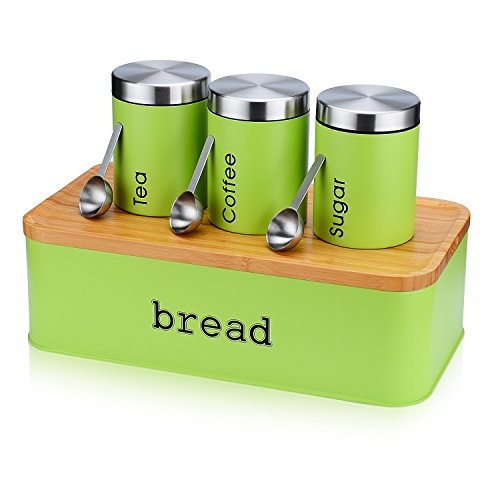 Large Bread Box for Kitchen, Fortune Candy 8 Piece Bread Bin Storage Container Bread Holder with Cutting Board Lids, 3Pcs Food Storage Container Airtight Canisters , 3Pcs Stainless Steel Spoons, Green 5.5' Airtight Canister