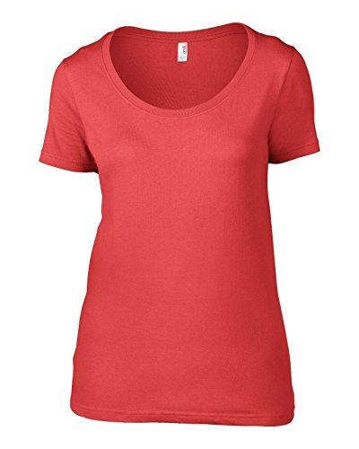 Anvil AV121Ladies Camiseta Sheer cuello redondo de algodón Coral XXL