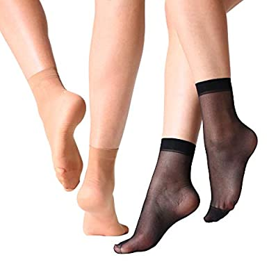 MANZI 12 Pairs Women's Ankle High Sheer Socks (6 Pairs Black, 6 Pairs Natural) at Women's Clothing store