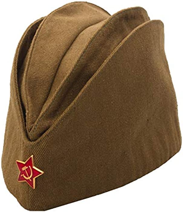 f466607eacf USSR Military WW2 Side Cap Soviet Hat Pilotka Khaki Russian Army incl. Red  Star