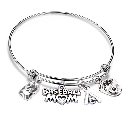 QIIER Baseball Mom Bracelet Sports Expandable Charm Bangle Baseball Jewelry for Moms Fans (silver)