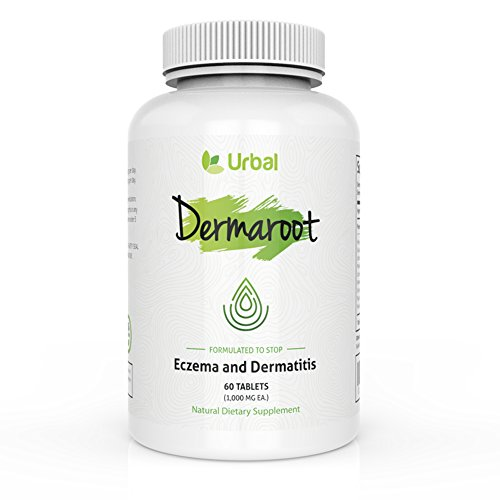 Natural Herbal Eczema Pill Treatment - Dermaroot by Urbal - Concentrated Formula - Stops Breakouts - Heals Damaged Skin - No Side Effects - Steroid Free - for Children and Adults - 60 Tablets