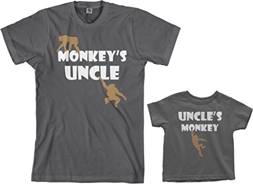 Threadrock Monkey's Uncle Toddler & Men's T-Shirt Matching Set (Toddler: 3T, Charcoal|Men's: M, Charcoal)